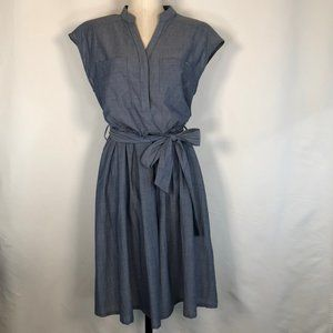 Cotton Chambray Short Sleeve Belted Dress